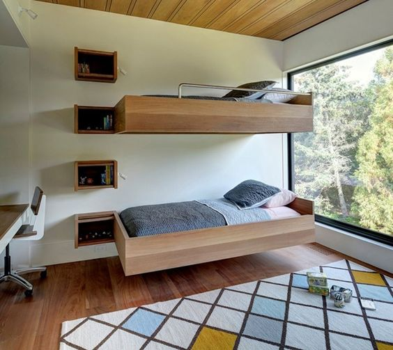 quarto minimalista com beliche