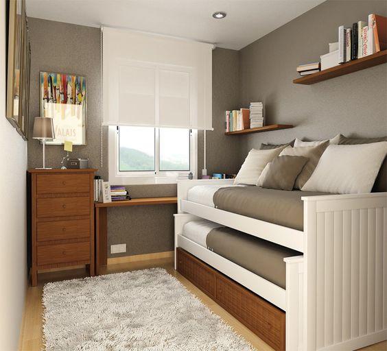 quarto para dois rapazes neutro branco, cinza e madeira