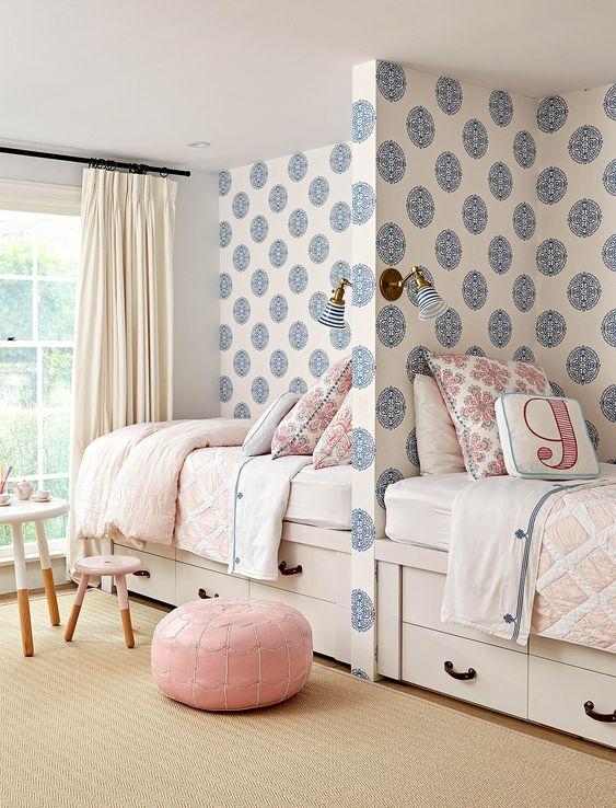 quarto para duas crianças neutro em azul
