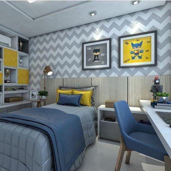 quarto infantil planejado com papel de parede chevron