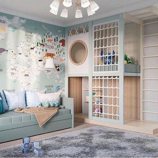 quarto infantil planejado com escotilha e papel de parede