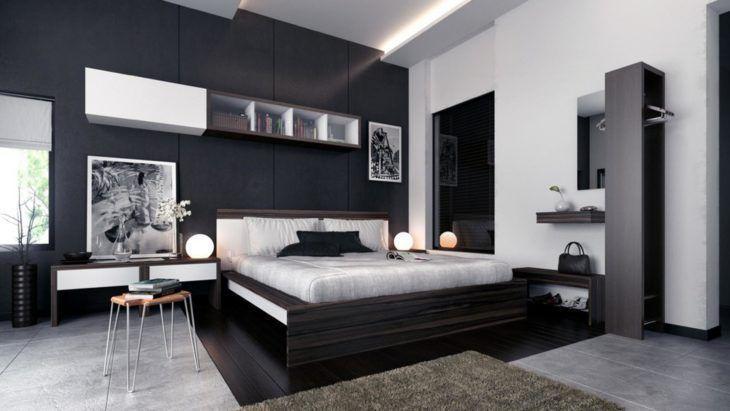Quarto preto e branco com decoração moderna.