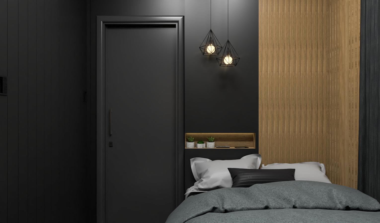 Decoração minimalista preto e cinza com painel de madeira.