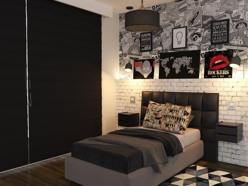 Quarto de solteiro preto e cinza com parede de tijolinho branco.