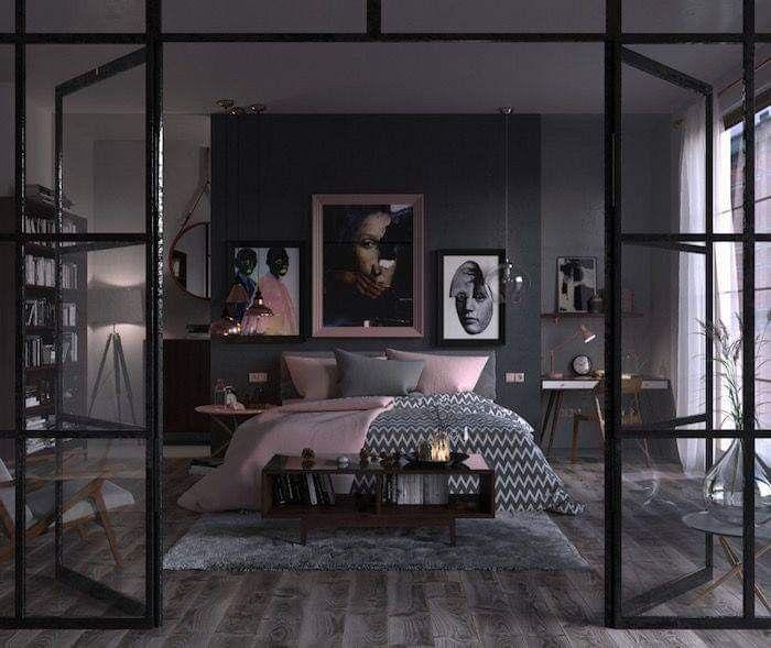 Quarto moderno com decoração em preto e rosa.