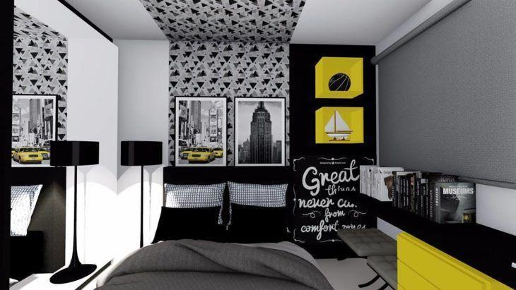 Quarto preto e cinza com móveis amarelos.