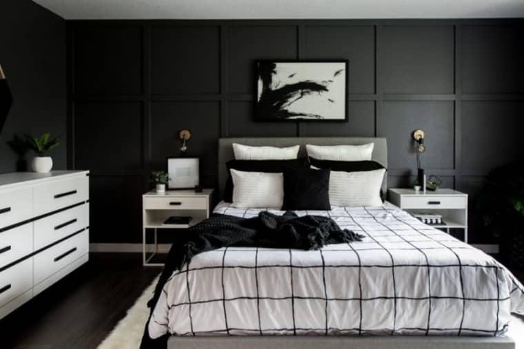 Quarto preto e branco moderno.