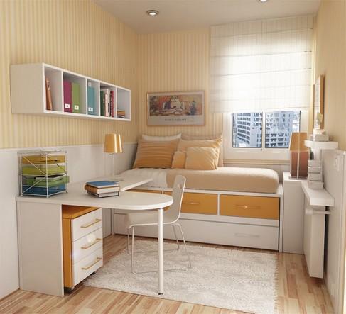 quarto planejado com cama e escrivaninha