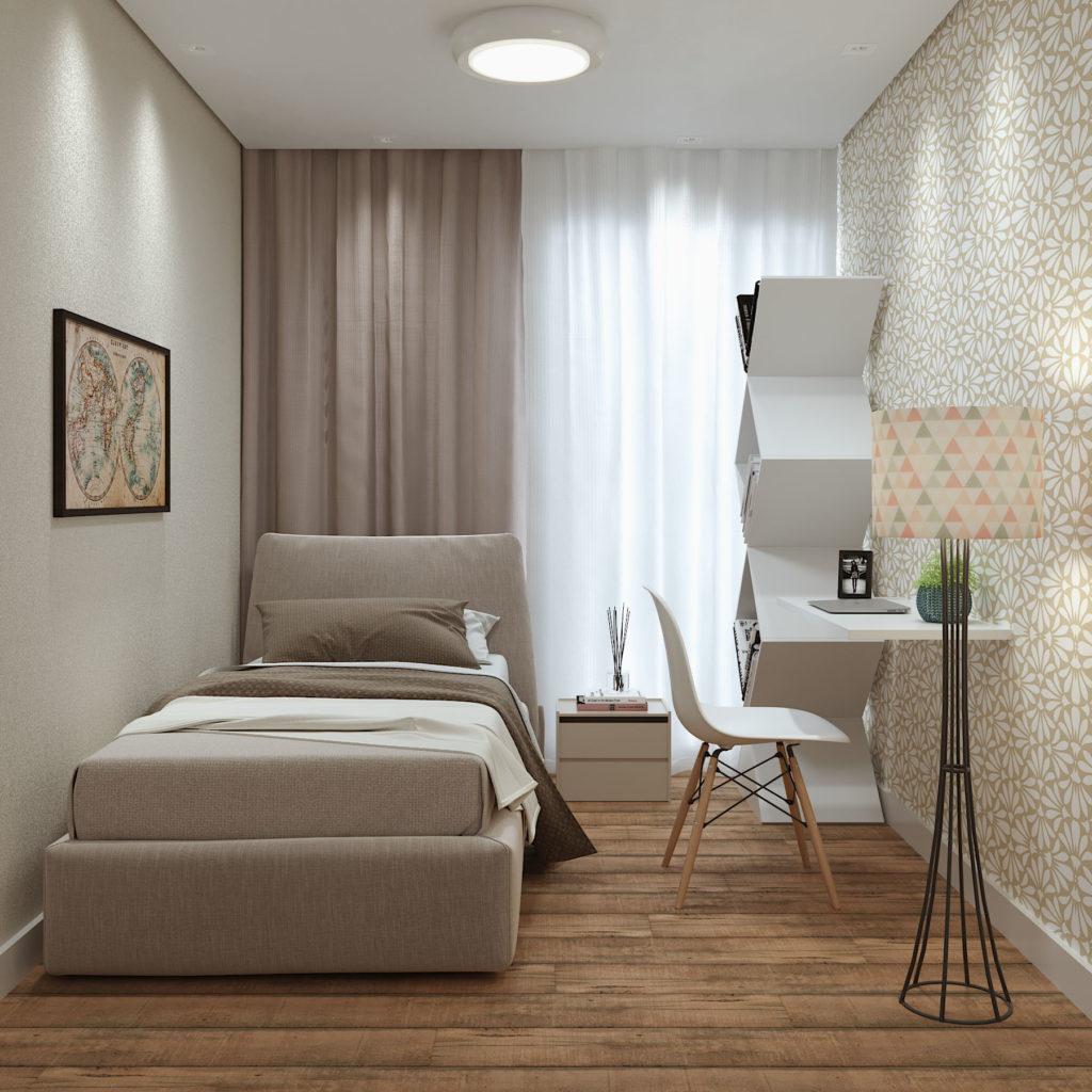 quarto com cama forrada em linho.