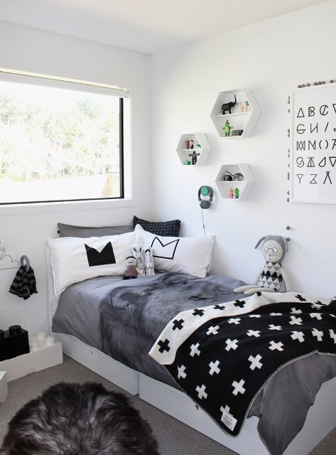 quarto para adolescente preto, branco e cinza
