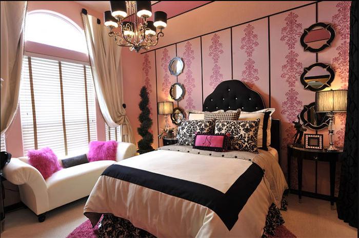 quarto feminino preto e rosa vintage