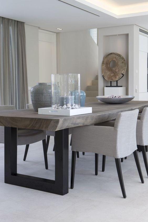 Decoração de sala de jantar em cinza.