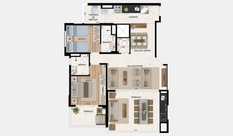 plantas de casas térreas com dois quartos e suíte