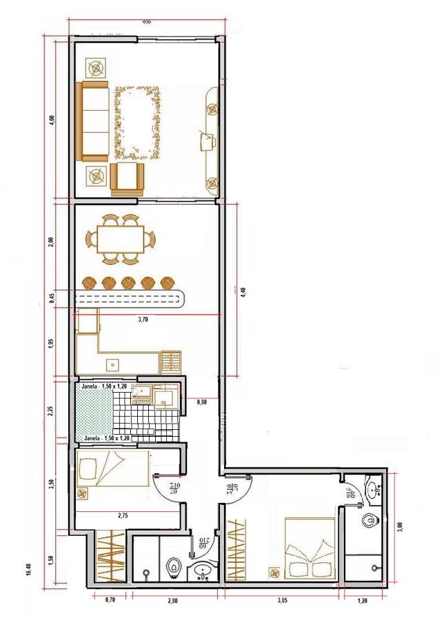 planta de casa em L para terreno estreito com 2 quartos