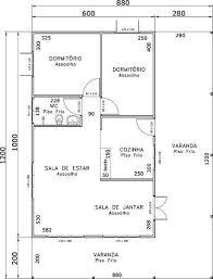 planta de casa com 2 quartos pequena e simples