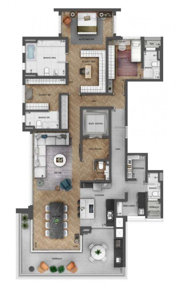 plantas de casas térreas com dois quartos com varanda