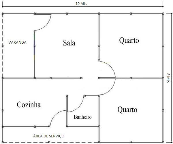 planta de casa com 2 quartos e área de serviço