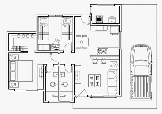 planta de casa com 2 quartos com uma vaga na garagem