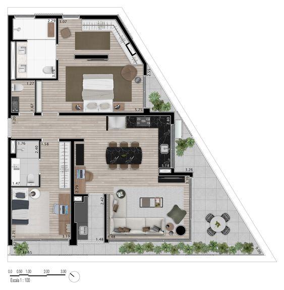 planta de casa com varanda grande e  suíte