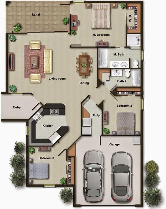 planta para casa em L com garagem e 3 quartos