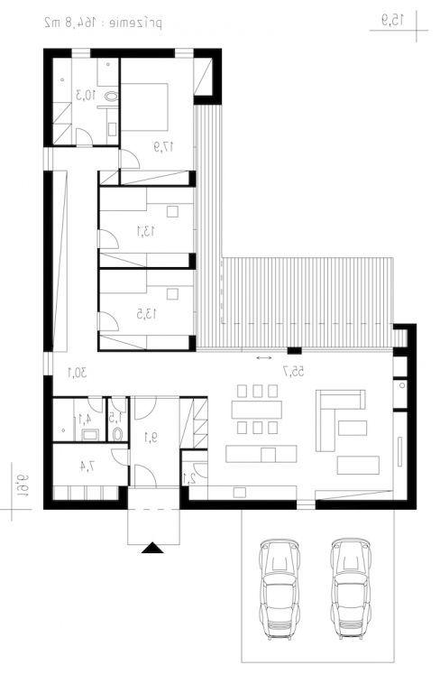planta para casa grande em L 3 quartos