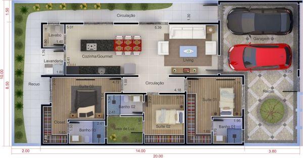 plantas de casas com 3 quartos com closet