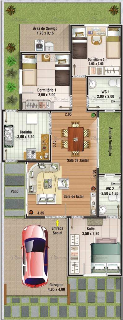 planta para casa em L com jardim e 3 quartos