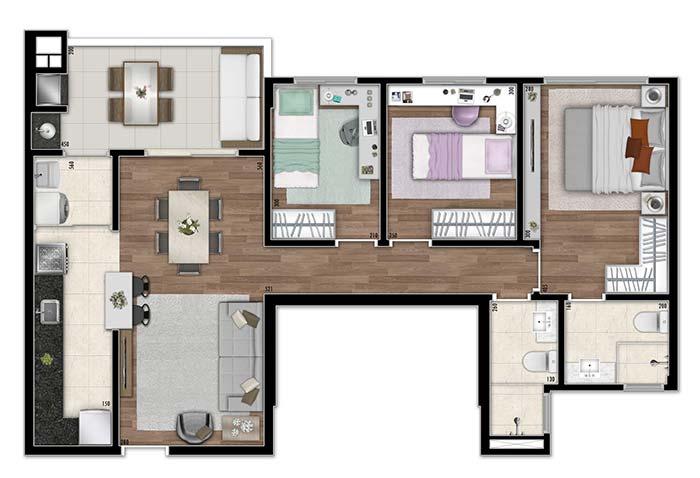 plantas de casas com 3 quartos com varanda gourmet