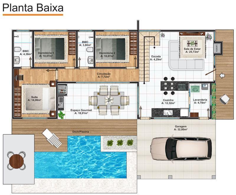 planta de casa com piscina e cozinha americana