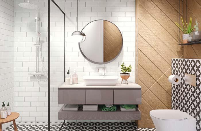 Decoração moderna com azulejo de tijolinho branco e painel de madeira.