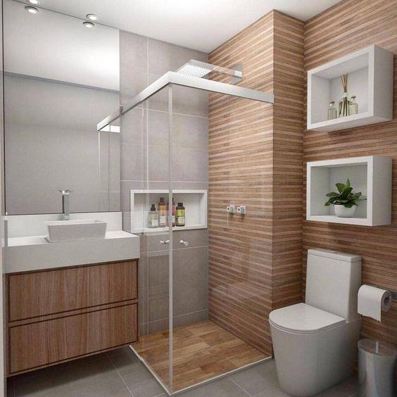 Decoração moderna com armário e painel de madeira.