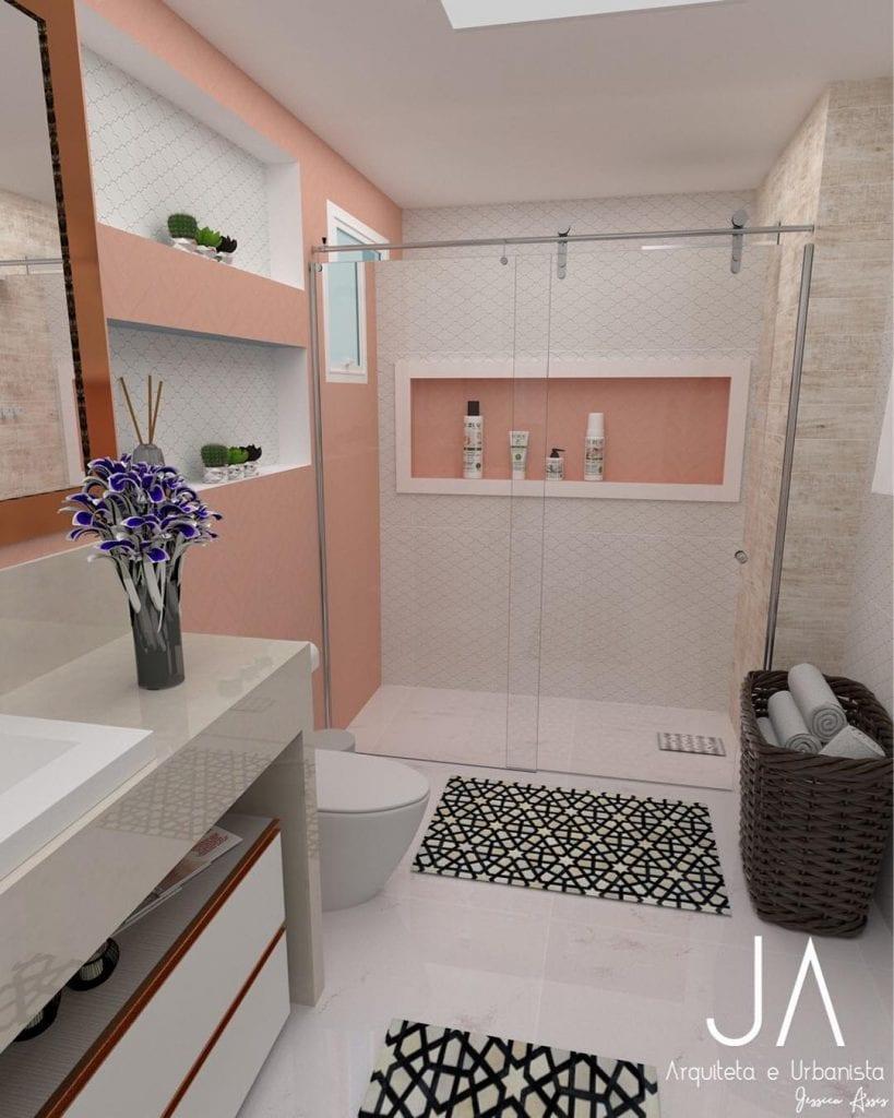 Banheiro feminino branco e rosa.