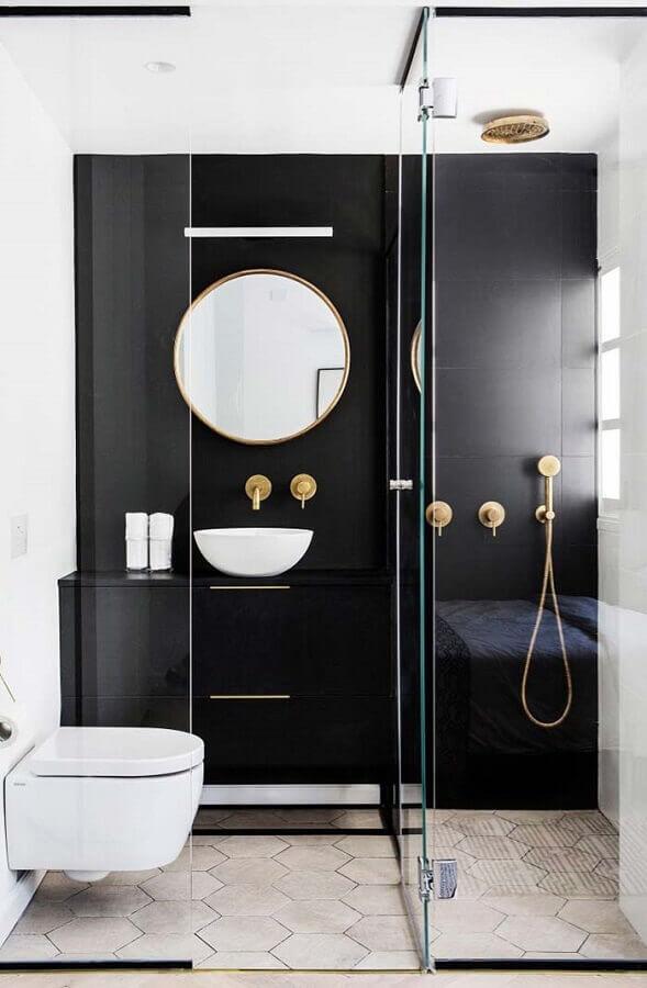 Banheiro feminino minimalista preto.