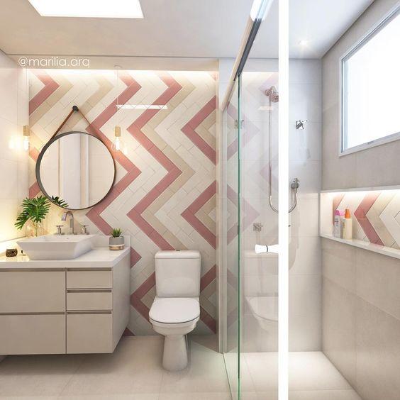 Decoração simples com azulejo de tijolinho colorido.