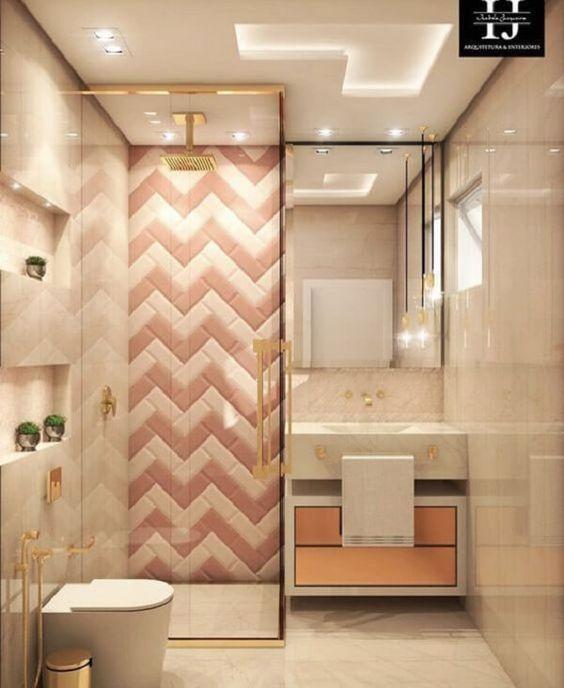 Decoração luxuosa com azulejo de tijolinho e porcelanato.
