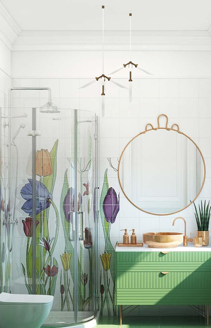 Banheiro feminino moderna com espelho redondo e armário verde.