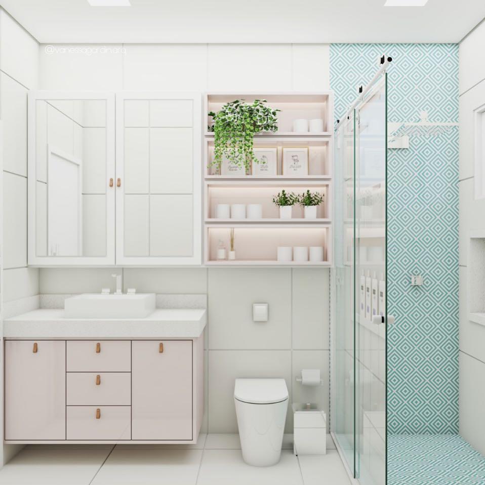 Decoração clean com azulejo decorado e prateleiras.