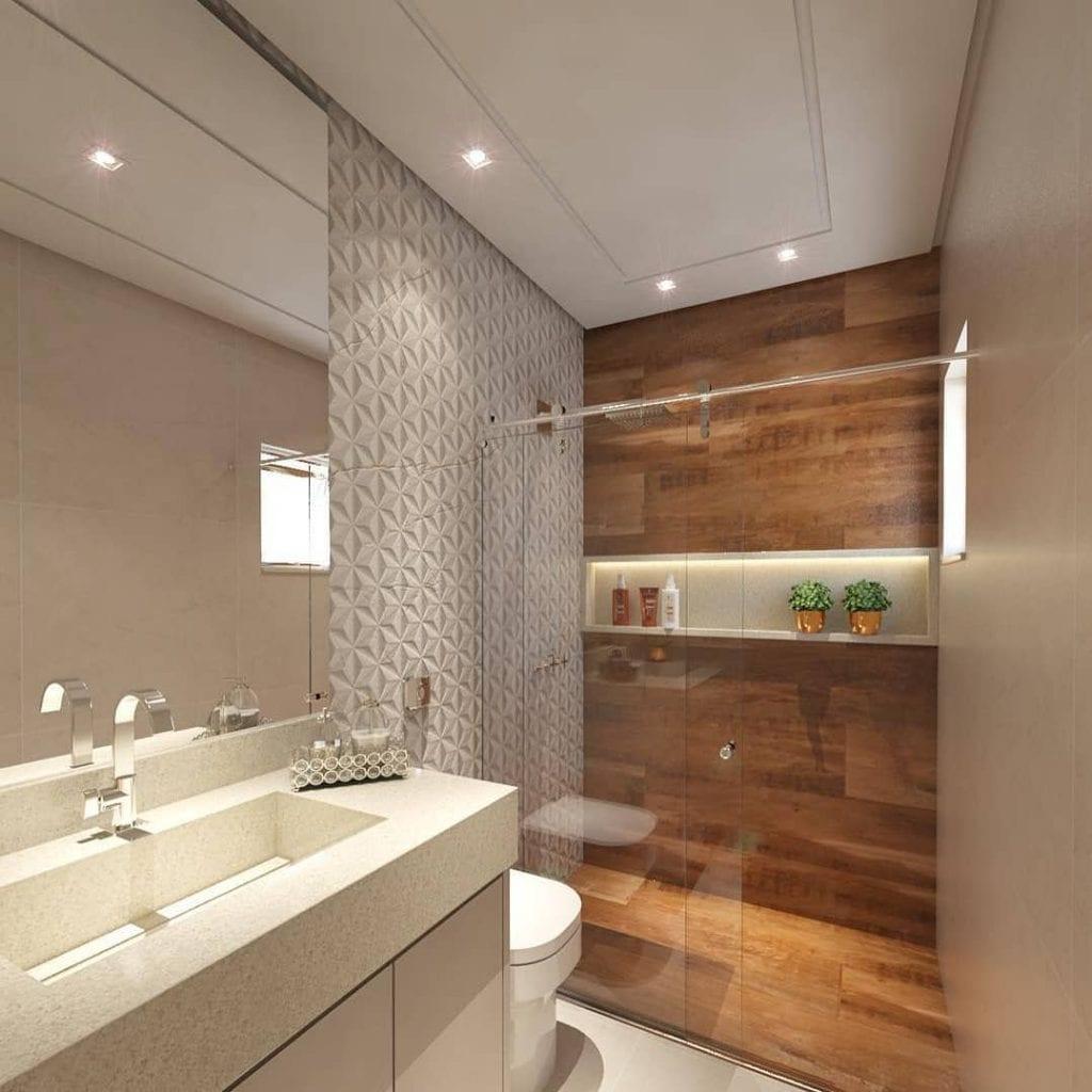 Decoração moderna com azulejo com estampa de madeira.
