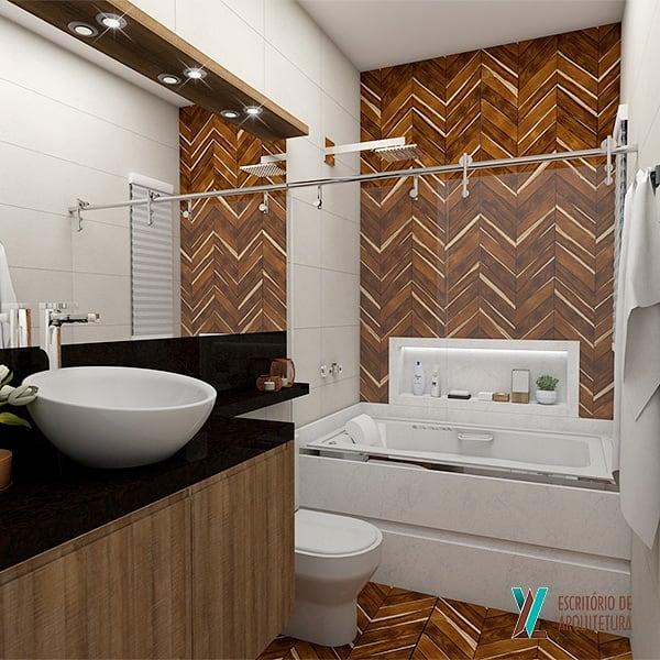 Decoração luxuosa com banheira.