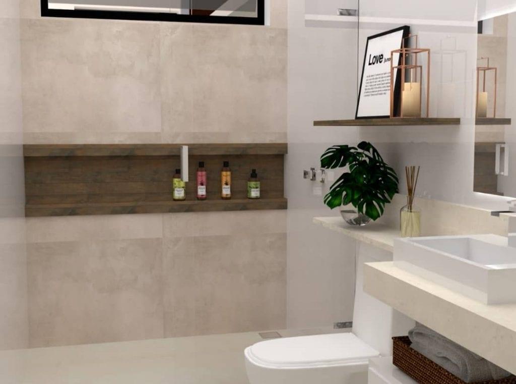 Decoração moderna com bancada de granito, nicho de madeira e prateleira de madeira.