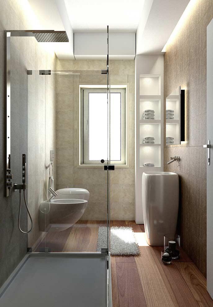 Decoração com lavatório moderno, piso de madeira e chuveiro moderno.