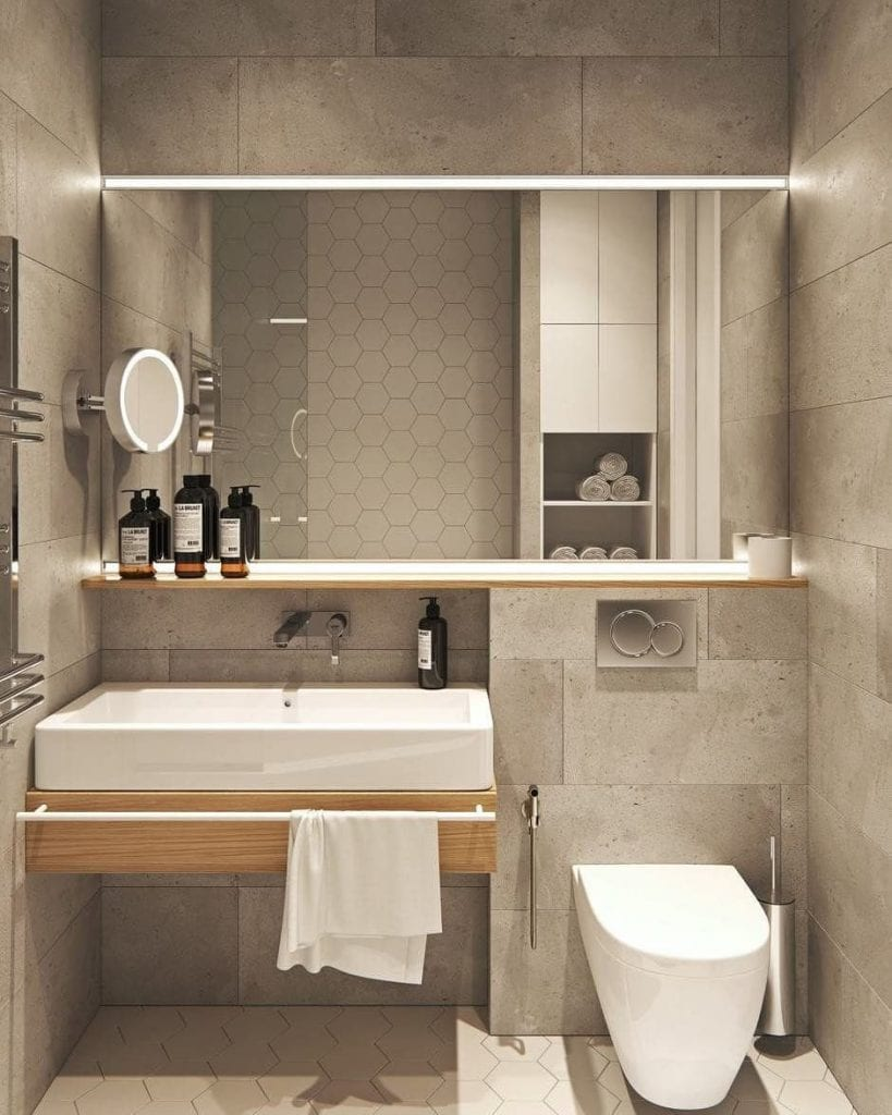 Decoração moderna com azulejo de cimento e armário de madeira.