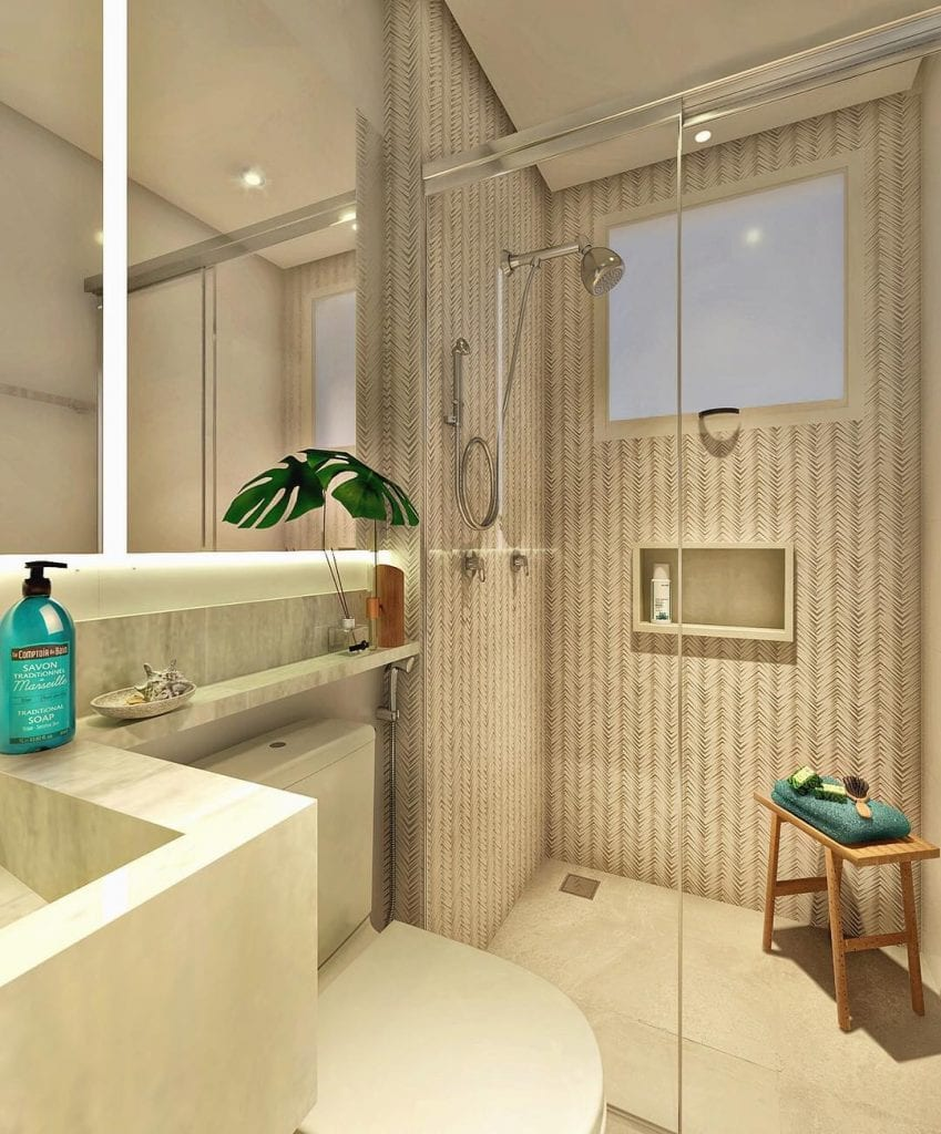 Banheiro pequeno decorado moderno com bancada de mármore.