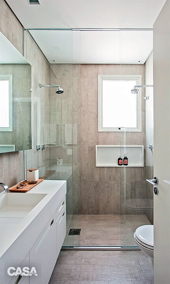 Banheiro simples neutro.
