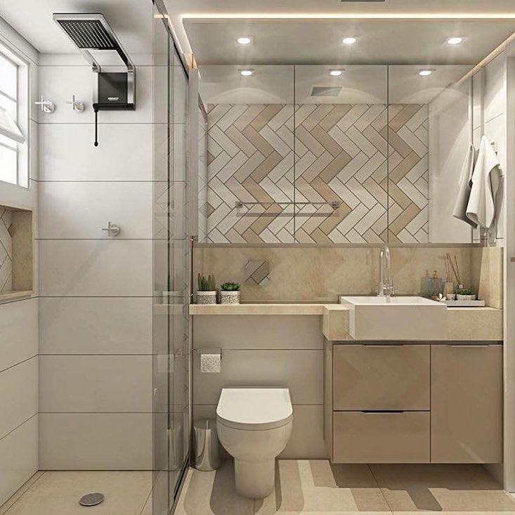 Banheiro simples neutro e pequeno.