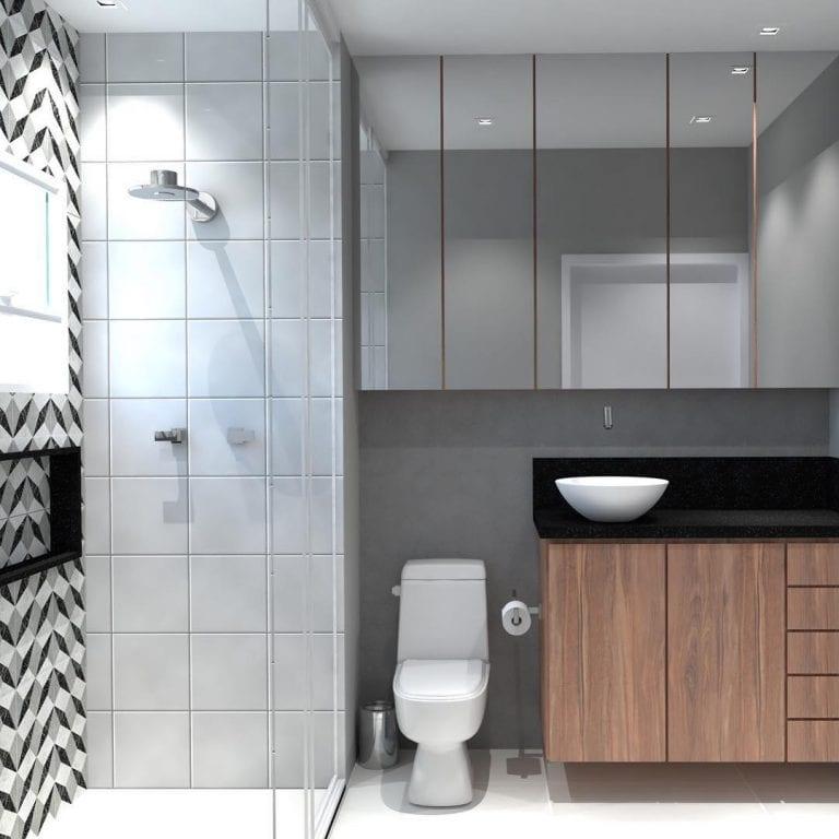 Banheiro simples com armário de madeira e azulejo decorado.