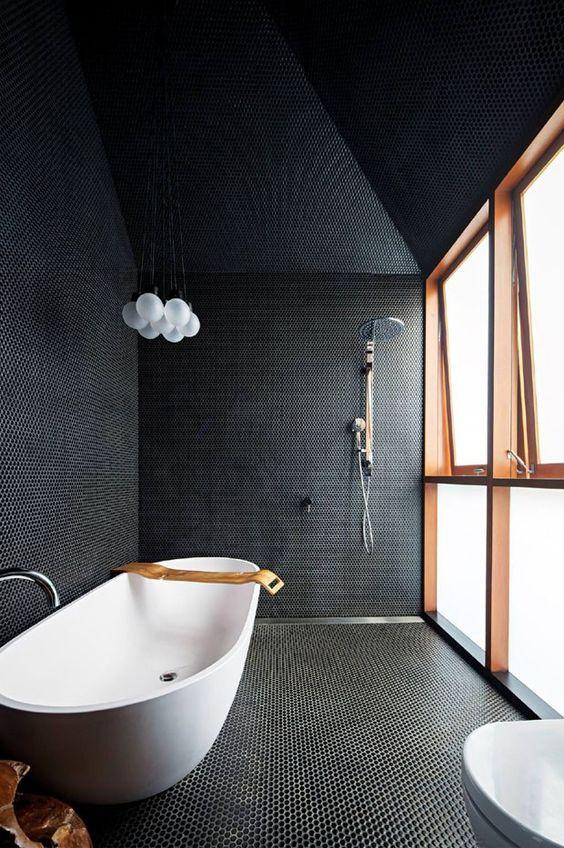 revestimento de piso e parede preto