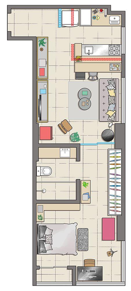projeto de casa em L com cozinha americana