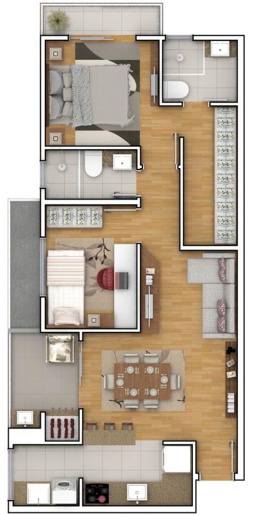 projeto de casa com dois quartos e cozinha americana