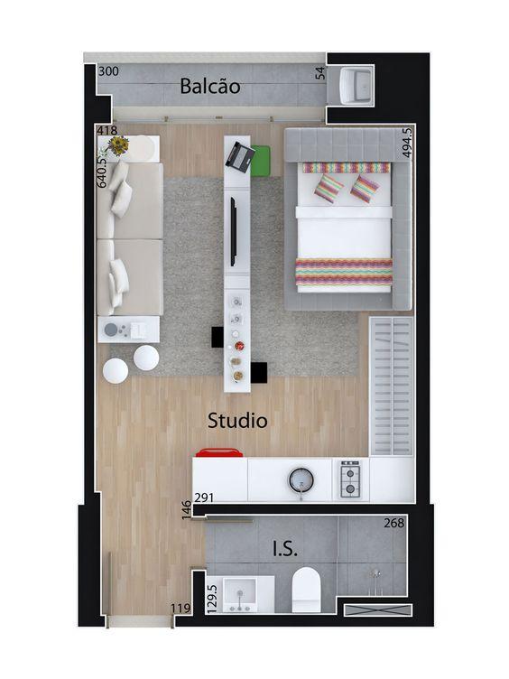 planta de casa com sala e quarto